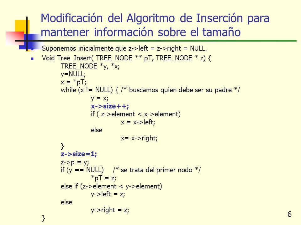 6 Modificación del Algoritmo de Inserción para mantener información sobre el tamaño Suponemos inicialmente que z->left = z->right = NULL. Void Tree_In