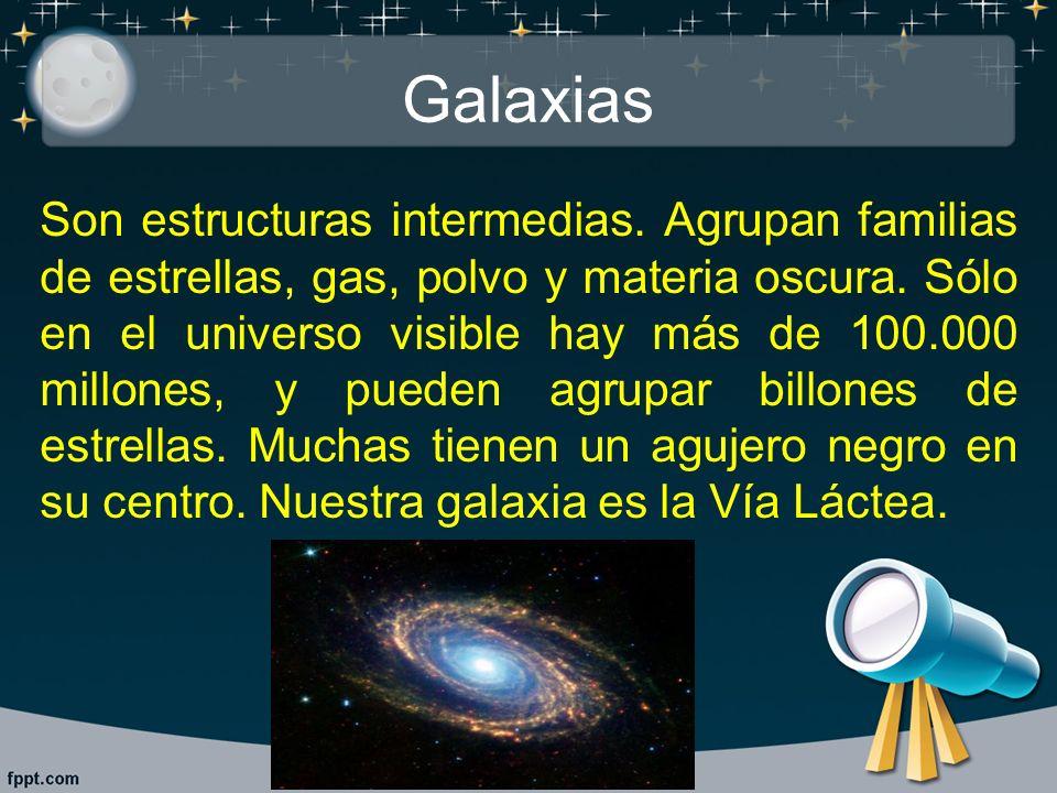 Galaxias Son estructuras intermedias. Agrupan familias de estrellas, gas, polvo y materia oscura. Sólo en el universo visible hay más de 100.000 millo