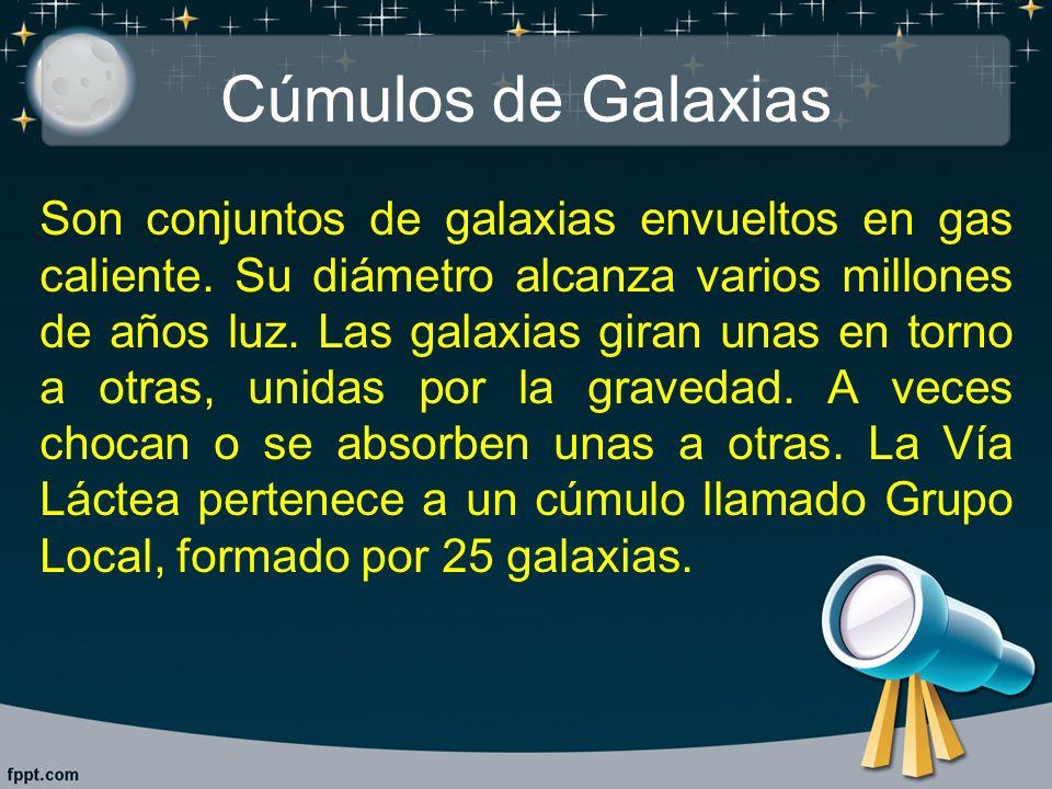 Cúmulos de Galaxias Son conjuntos de galaxias envueltos en gas caliente. Su diámetro alcanza varios millones de años luz. Las galaxias giran unas en t