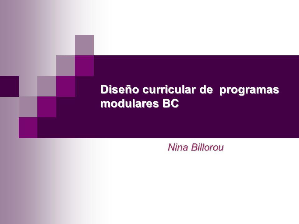 Nina Billorou Diseño curricular de programas modulares BC