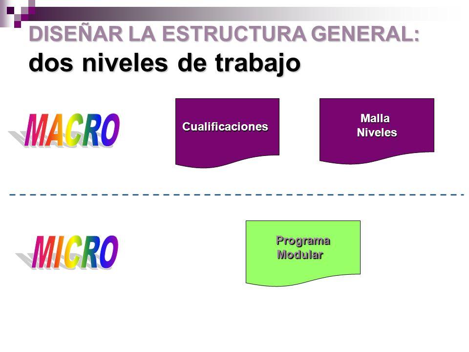DISEÑAR LA ESTRUCTURA GENERAL: dos niveles de trabajo MallaNivelesCualificaciones ProgramaModular