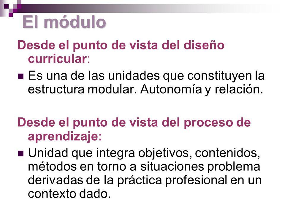 El módulo Desde el punto de vista del diseño curricular: Es una de las unidades que constituyen la estructura modular.