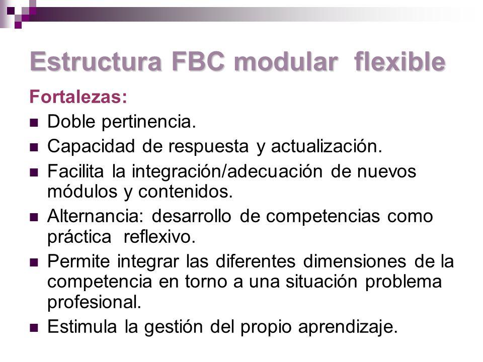 Estructura FBC modular flexible Fortalezas: Doble pertinencia.