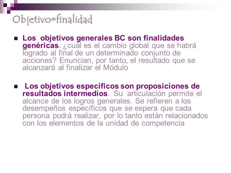 Objetivo=finalidad Los objetivos generales BC son finalidades genéricas.