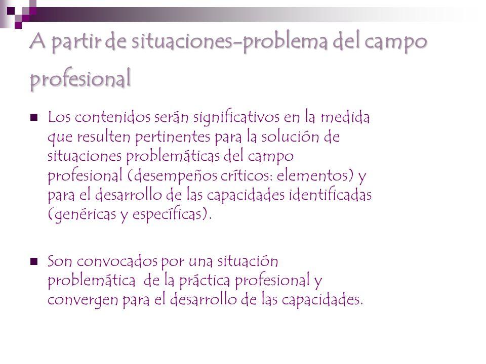 A partir de situaciones-problema del campo profesional Los contenidos serán significativos en la medida que resulten pertinentes para la solución de situaciones problemáticas del campo profesional (desempeños críticos: elementos) y para el desarrollo de las capacidades identificadas (genéricas y específicas).