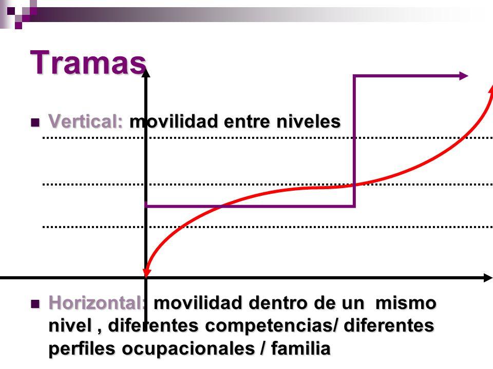 Tramas Vertical: movilidad entre niveles Vertical: movilidad entre niveles Horizontal: movilidad dentro de un mismo nivel, diferentes competencias/ diferentes perfiles ocupacionales / familia Horizontal: movilidad dentro de un mismo nivel, diferentes competencias/ diferentes perfiles ocupacionales / familia