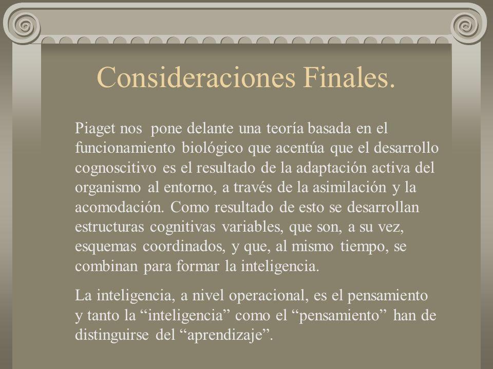 Consideraciones Finales. Piaget nos pone delante una teoría basada en el funcionamiento biológico que acentúa que el desarrollo cognoscitivo es el res