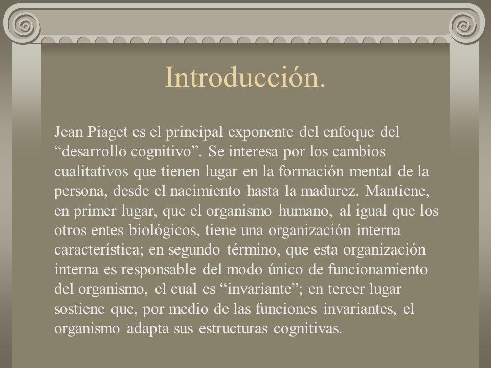 Introducción. Jean Piaget es el principal exponente del enfoque del desarrollo cognitivo. Se interesa por los cambios cualitativos que tienen lugar en