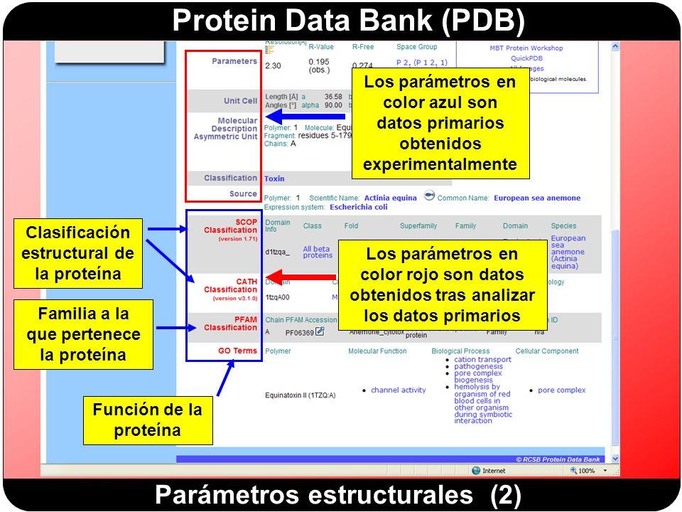 Protein Data Bank (PDB) Parámetros estructurales (2) Clasificación estructural de la proteína Función de la proteína Familia a la que pertenece la proteína Los parámetros en color azul son datos primarios obtenidos experimentalmente Los parámetros en color rojo son datos obtenidos tras analizar los datos primarios