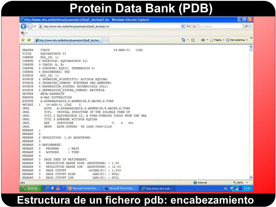 Protein Data Bank (PDB) Estructura de un fichero pdb: encabezamiento