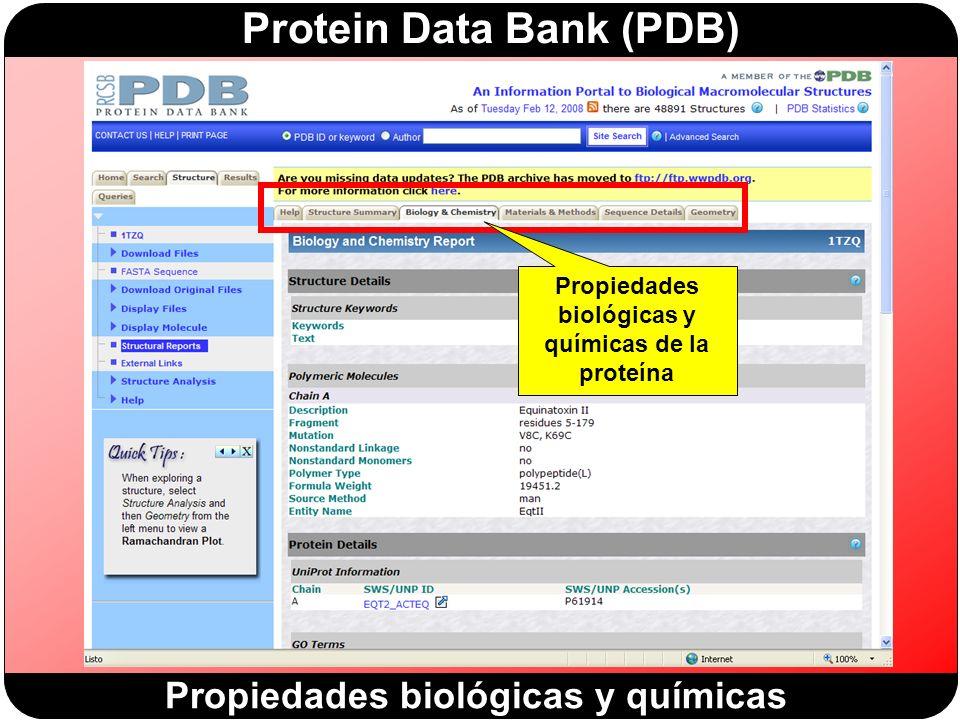 Protein Data Bank (PDB) Propiedades biológicas y químicas de la proteína Propiedades biológicas y químicas