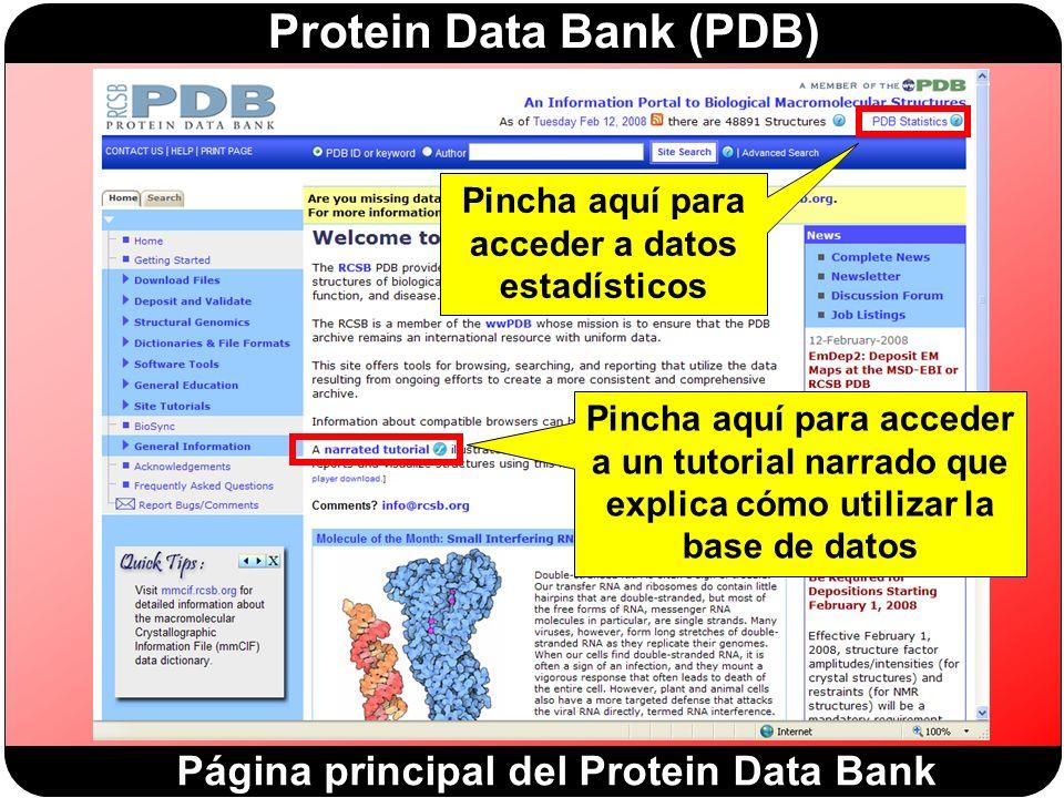 Protein Data Bank (PDB) Página principal del Protein Data Bank Pincha aquí para acceder a datos estadísticos Pincha aquí para acceder a un tutorial narrado que explica cómo utilizar la base de datos