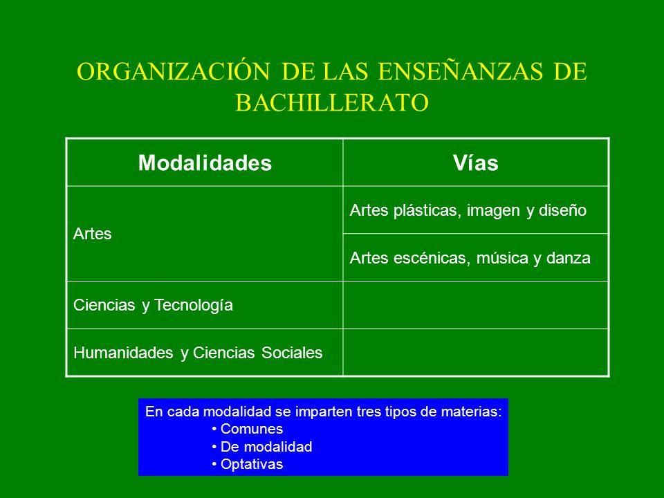 1º de Bachillerato MATERIAS COMUNES Lengua castellana y literatura I 3 Lengua extranjera I 3 Filosofía y ciudadanía 3 Educación física 2 Ciencias para el mundo contemporáneo 2 3 materias de modalidad 12 Optativa 3 Religión 2 Total 30