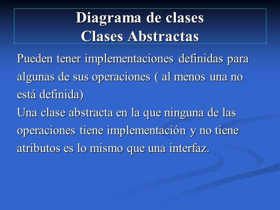 Diagrama de clases Clases Abstractas Pueden tener implementaciones definidas para algunas de sus operaciones ( al menos una no está definida) Una clas