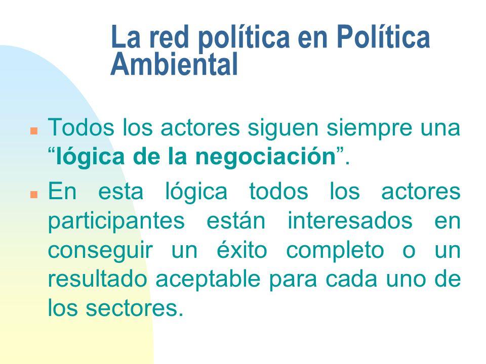La red política en Política Ambiental n Todos los actores siguen siempre unalógica de la negociación. n En esta lógica todos los actores participantes