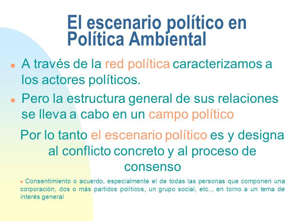 El escenario político en Política Ambiental n A través de la red política caracterizamos a los actores políticos. n Pero la estructura general de sus