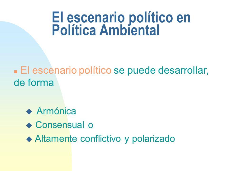 El escenario político en Política Ambiental n El escenario político se puede desarrollar, de forma u Armónica u Consensual o u Altamente conflictivo y polarizado