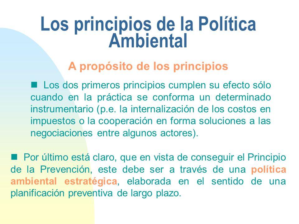 Los principios de la Política Ambiental Los dos primeros principios cumplen su efecto sólo cuando en la práctica se conforma un determinado instrument