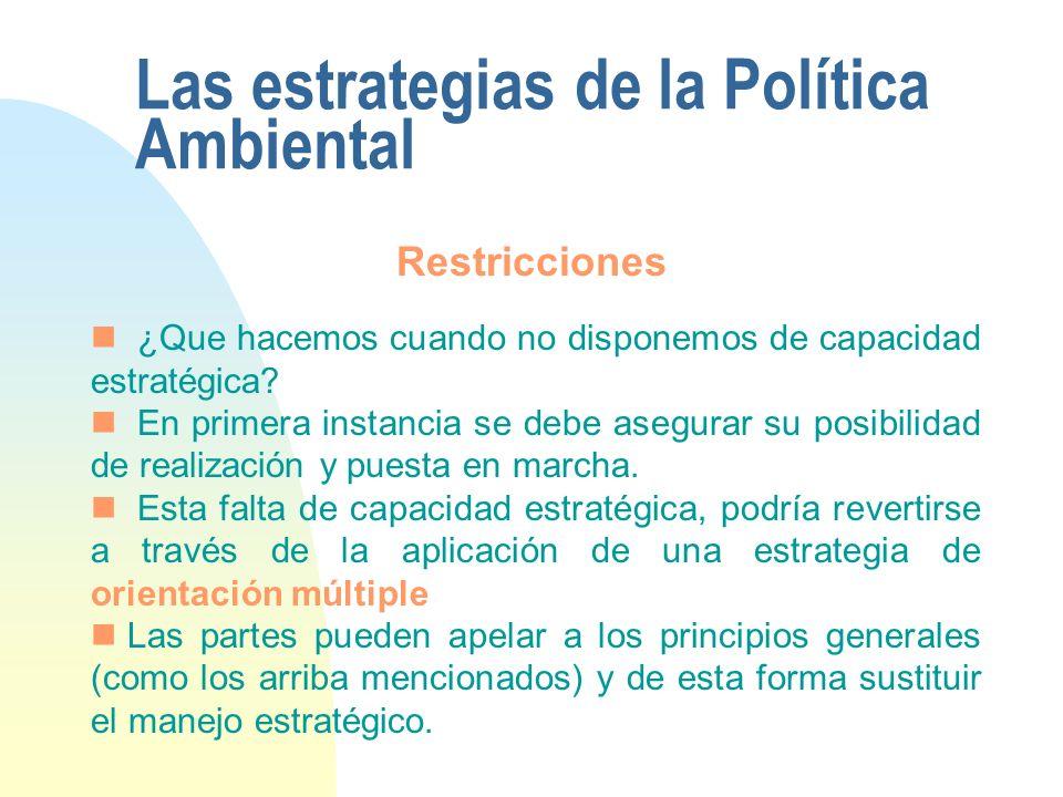 Las estrategias de la Política Ambiental ¿Que hacemos cuando no disponemos de capacidad estratégica? En primera instancia se debe asegurar su posibili