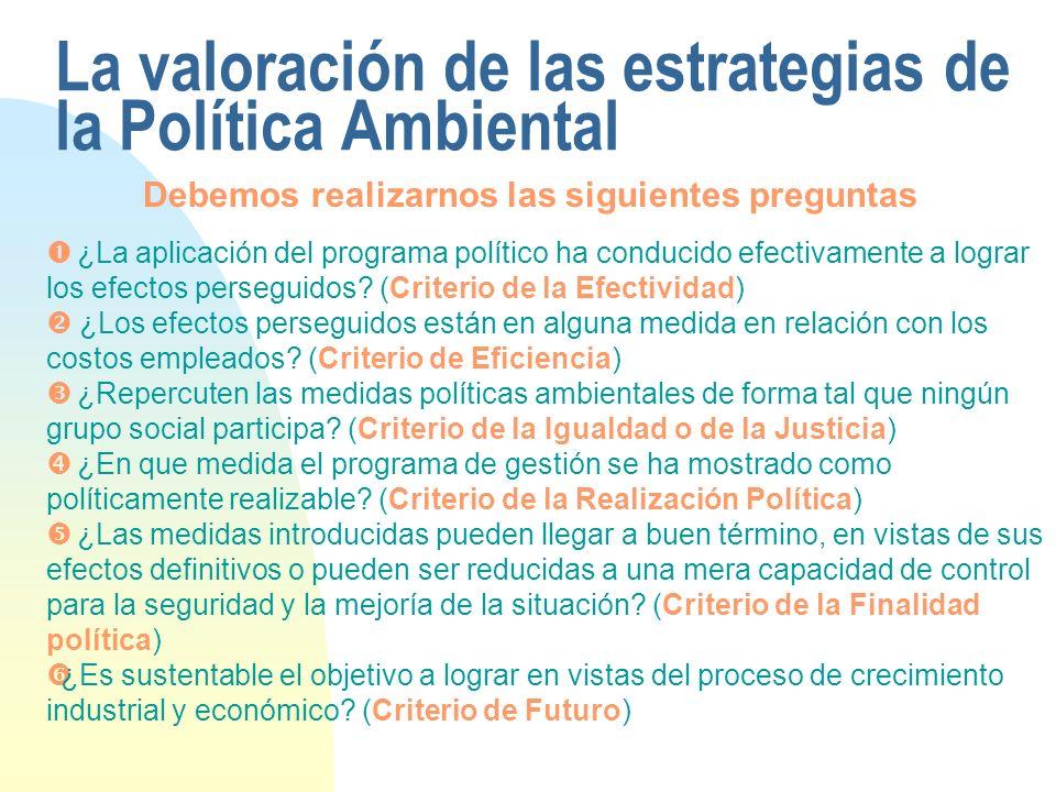 La valoración de las estrategias de la Política Ambiental ¿La aplicación del programa político ha conducido efectivamente a lograr los efectos perseguidos.