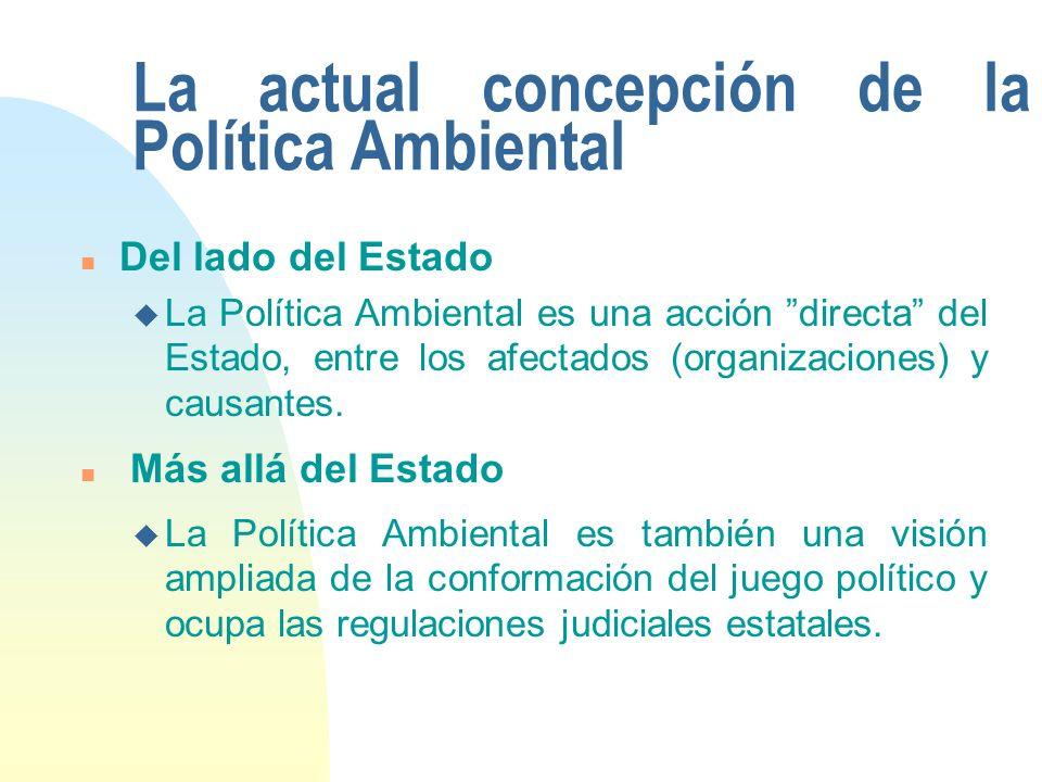 La actual concepción de la Política Ambiental n Del lado del Estado u La Política Ambiental es una acción directa del Estado, entre los afectados (organizaciones) y causantes.