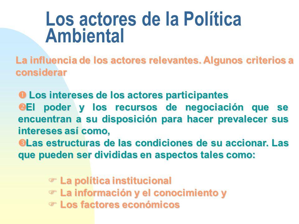 Los actores de la Política Ambiental La influencia de los actores relevantes. Algunos criterios a considerar Los intereses de los actores participante