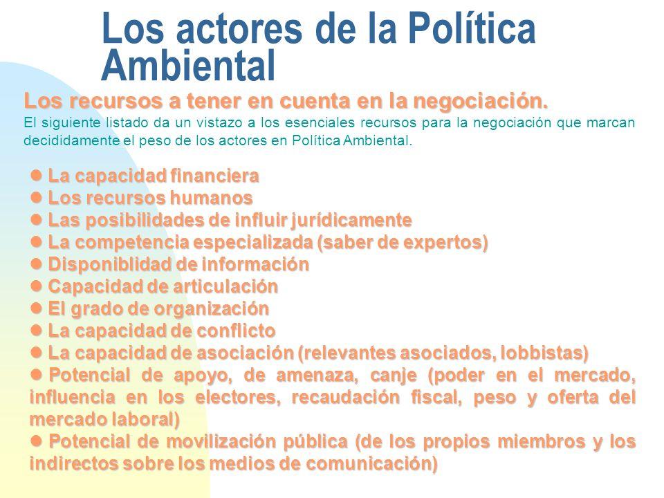 Los actores de la Política Ambiental Los recursos a tener en cuenta en la negociación. El siguiente listado da un vistazo a los esenciales recursos pa