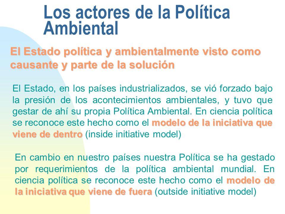 Los actores de la Política Ambiental El Estado política y ambientalmente visto como causante y parte de la solución modelo de la iniciativa que viene