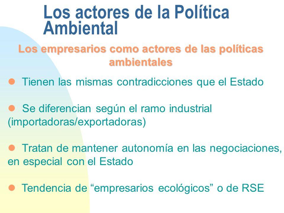 Los actores de la Política Ambiental Los empresarios como actores de las políticas ambientales Tienen las mismas contradicciones que el Estado Se diferencian según el ramo industrial (importadoras/exportadoras) Tratan de mantener autonomía en las negociaciones, en especial con el Estado Tendencia de empresarios ecológicos o de RSE