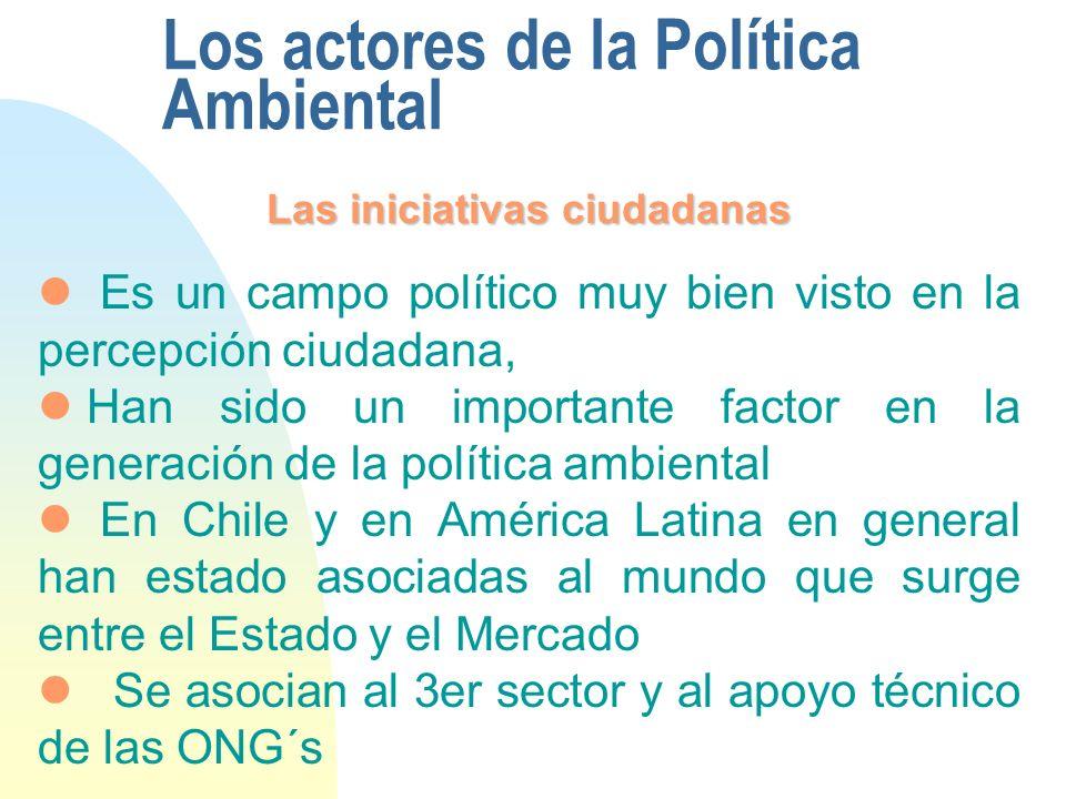 Los actores de la Política Ambiental Las iniciativas ciudadanas Es un campo político muy bien visto en la percepción ciudadana, Han sido un importante factor en la generación de la política ambiental En Chile y en América Latina en general han estado asociadas al mundo que surge entre el Estado y el Mercado Se asocian al 3er sector y al apoyo técnico de las ONG´s