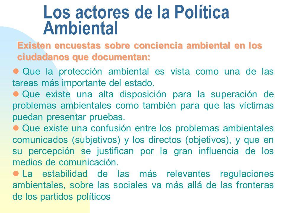 Los actores de la Política Ambiental Existen encuestas sobre conciencia ambiental en los ciudadanos que documentan: Que la protección ambiental es vista como una de las tareas más importante del estado.
