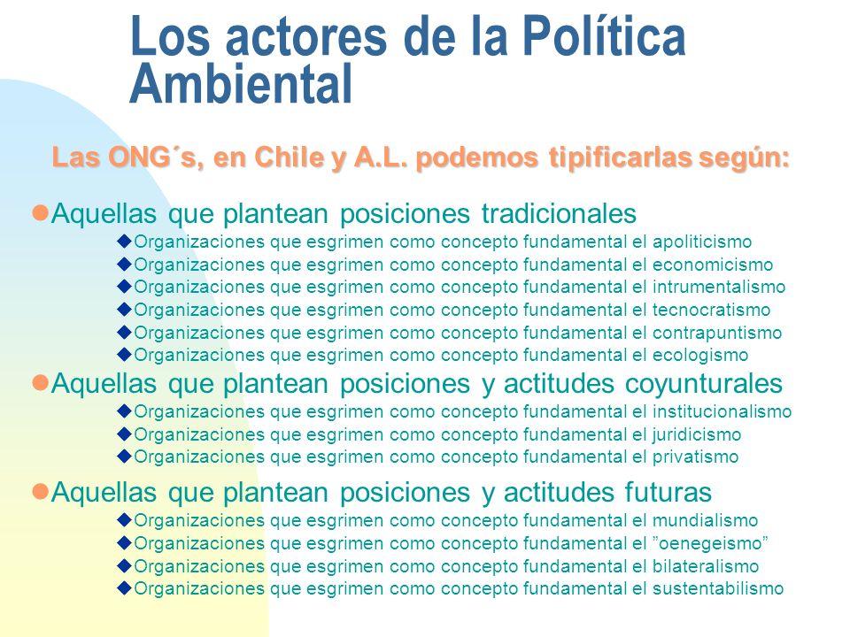 Los actores de la Política Ambiental Las ONG´s, en Chile y A.L. podemos tipificarlas según: Aquellas que plantean posiciones tradicionales Organizacio