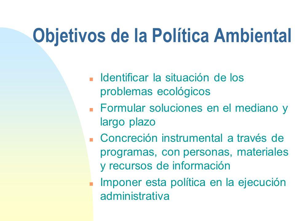 Objetivos de la Política Ambiental n Identificar la situación de los problemas ecológicos n Formular soluciones en el mediano y largo plazo n Concreci