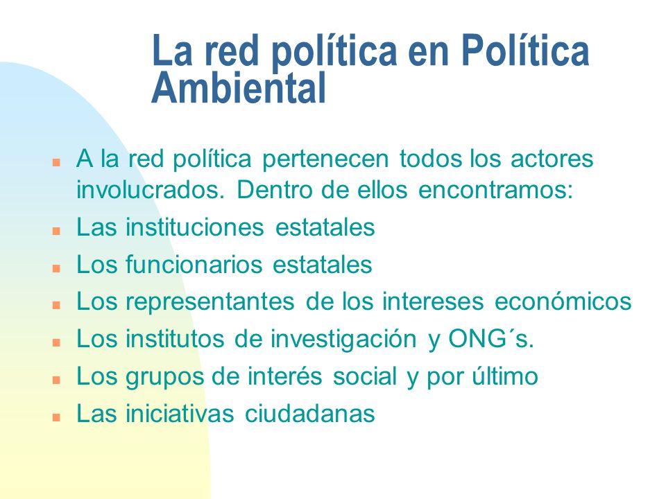 La red política en Política Ambiental n A la red política pertenecen todos los actores involucrados. Dentro de ellos encontramos: n Las instituciones