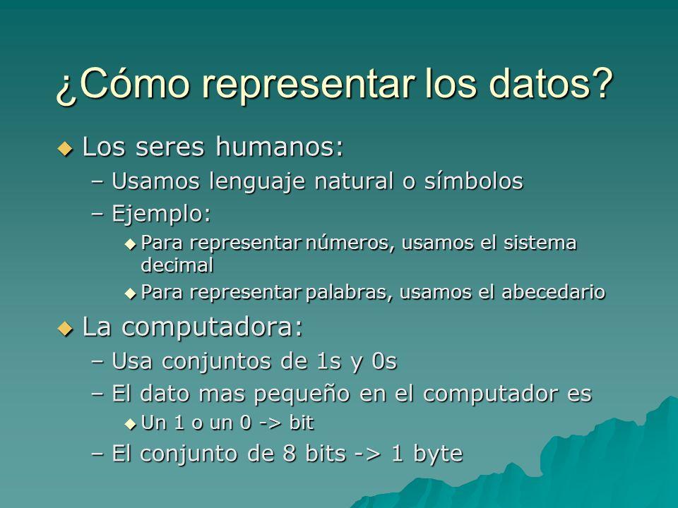 ¿Cómo representar los datos? Los seres humanos: Los seres humanos: –Usamos lenguaje natural o símbolos –Ejemplo: Para representar números, usamos el s