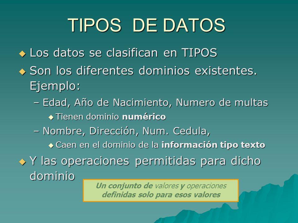TIPOS DE DATOS Los datos se clasifican en TIPOS Los datos se clasifican en TIPOS Son los diferentes dominios existentes. Ejemplo: Son los diferentes d