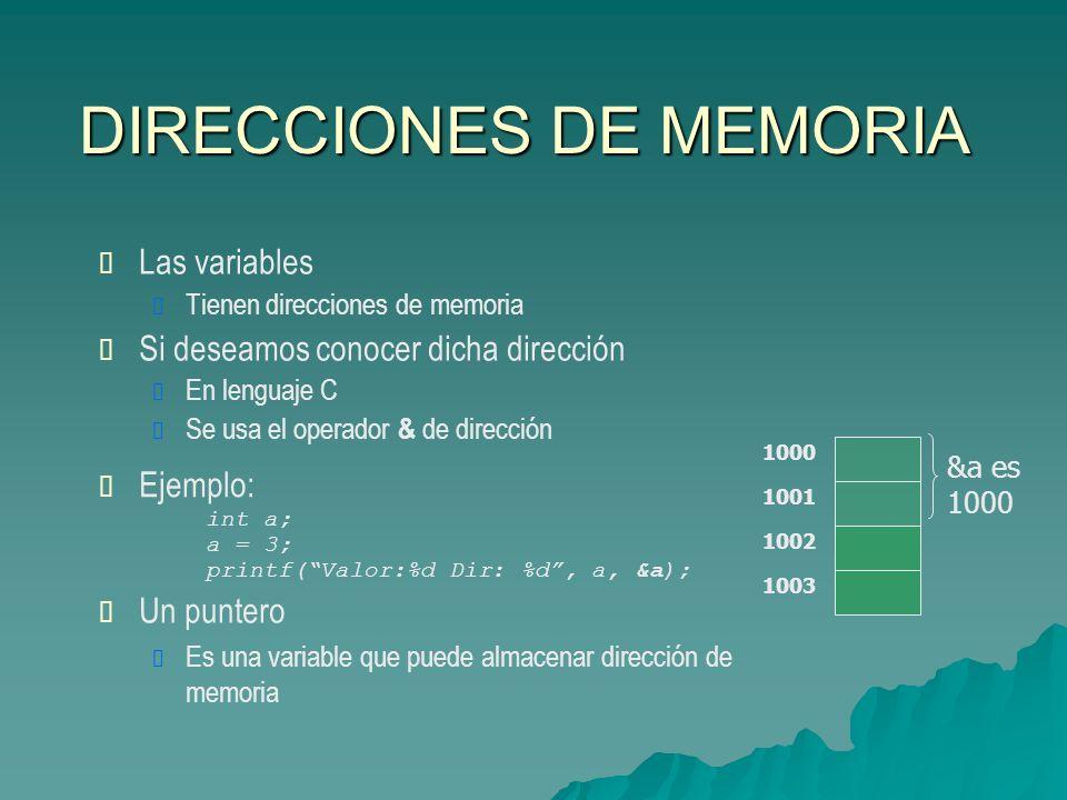 DIRECCIONES DE MEMORIA 1000 1001 1002 1003 &a es 1000 Las variables Tienen direcciones de memoria Si deseamos conocer dicha dirección En lenguaje C Se