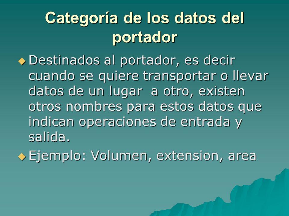 Categoría de los datos del portador Destinados al portador, es decir cuando se quiere transportar o llevar datos de un lugar a otro, existen otros nom