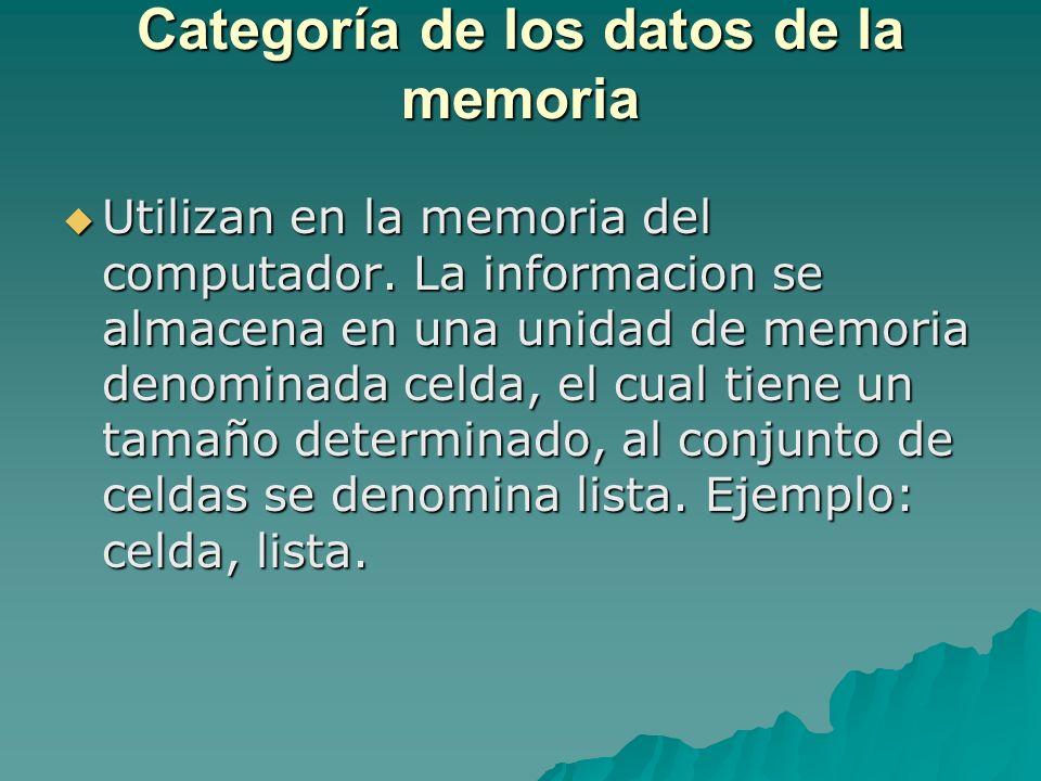 Categoría de los datos de la memoria Utilizan en la memoria del computador. La informacion se almacena en una unidad de memoria denominada celda, el c