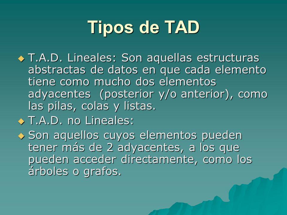 Tipos de TAD T.A.D. Lineales: Son aquellas estructuras abstractas de datos en que cada elemento tiene como mucho dos elementos adyacentes (posterior y