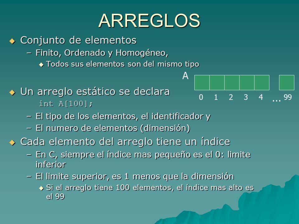 ARREGLOS Conjunto de elementos Conjunto de elementos –Finito, Ordenado y Homogéneo, Todos sus elementos son del mismo tipo Todos sus elementos son del