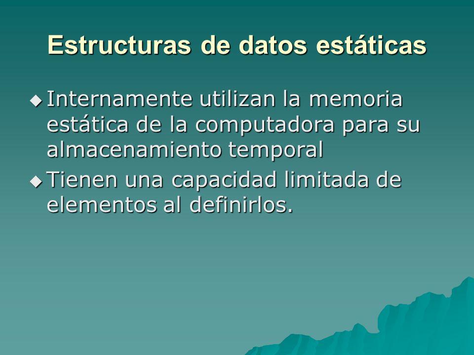 Estructuras de datos estáticas Internamente utilizan la memoria estática de la computadora para su almacenamiento temporal Internamente utilizan la me