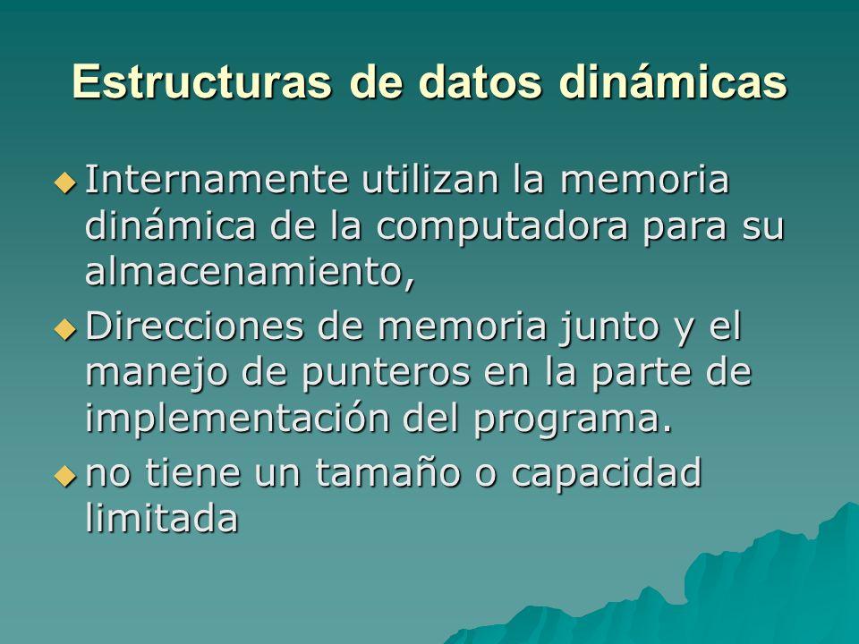 Estructuras de datos dinámicas Internamente utilizan la memoria dinámica de la computadora para su almacenamiento, Internamente utilizan la memoria di