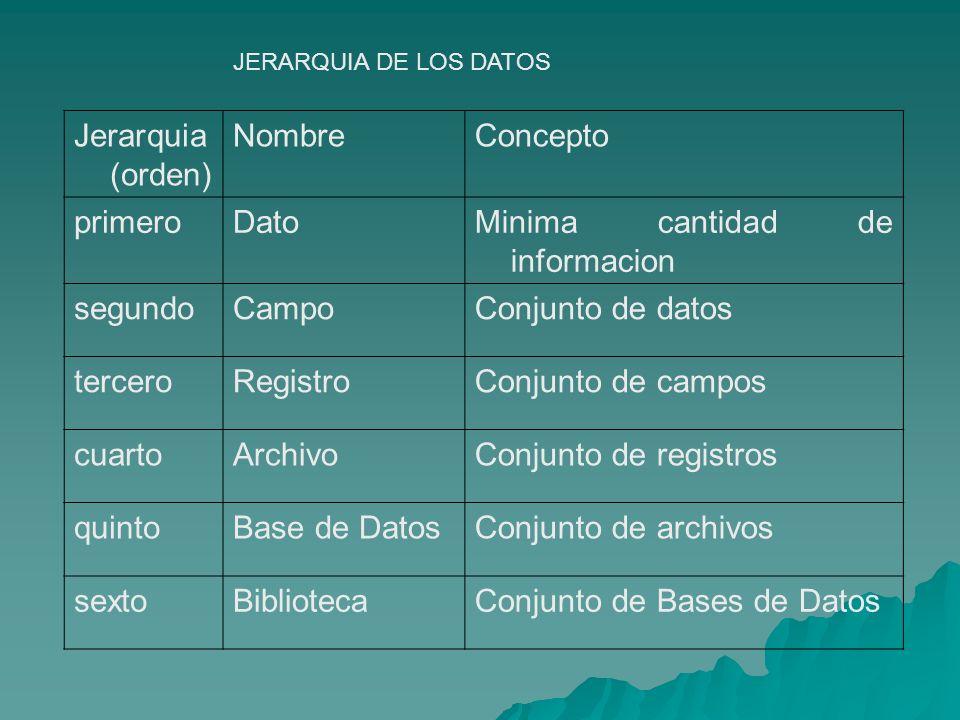 Jerarquia (orden) NombreConcepto primeroDatoMinima cantidad de informacion segundoCampoConjunto de datos terceroRegistroConjunto de campos cuartoArchi