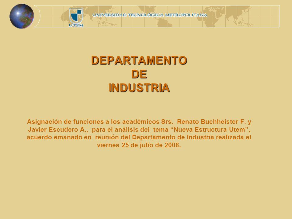 DEPARTAMENTO DE INDUSTRIA DEPARTAMENTO DE INDUSTRIA Asignación de funciones a los académicos Srs.