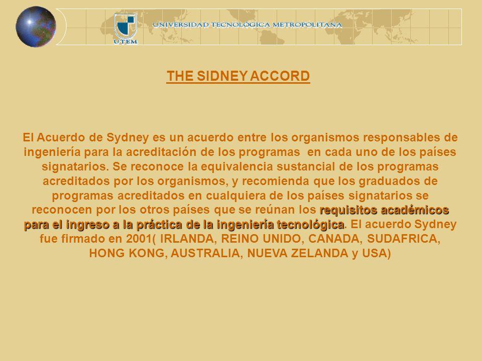 THE SIDNEY ACCORD requisitos académicos para el ingreso a la práctica de la ingeniería tecnológica El Acuerdo de Sydney es un acuerdo entre los organismos responsables de ingeniería para la acreditación de los programas en cada uno de los países signatarios.