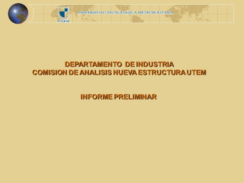 DEPARTAMENTO DE INDUSTRIA COMISION DE ANALISIS NUEVA ESTRUCTURA UTEM INFORME PRELIMINAR