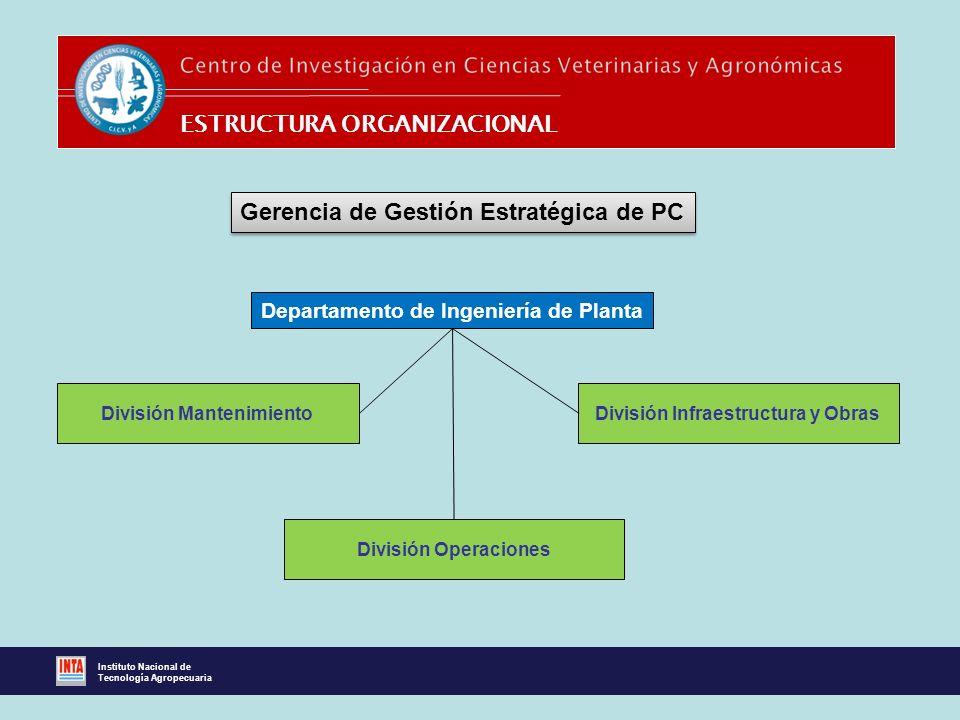 ESTRUCTURA ORGANIZACIONAL Gerencia de Gestión Estratégica de PC Departamento de Ingeniería de Planta División Infraestructura y Obras División Operaci