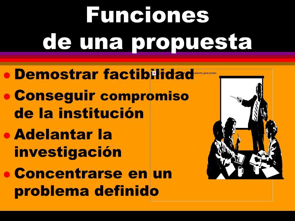 Funciones de una propuesta l Demostrar factibilidad l Conseguir compromiso de la institución l Adelantar la investigación l Concentrarse en un problema definido