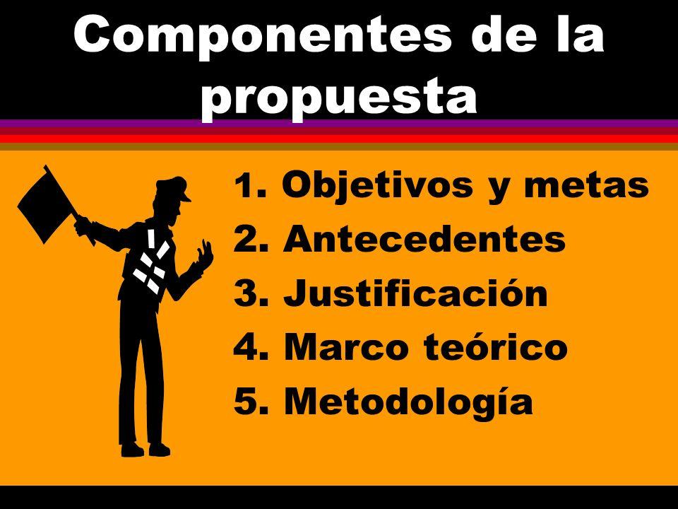 Componentes de la propuesta 1.Objetivos y metas 2.